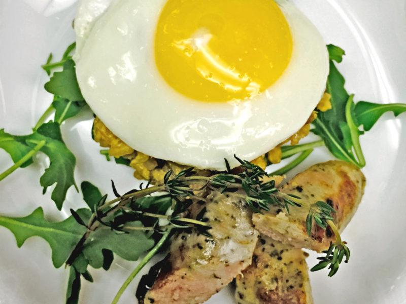 Sunny Egg w/ Chicken Basil Sausage & Wild Mushroom Risotto