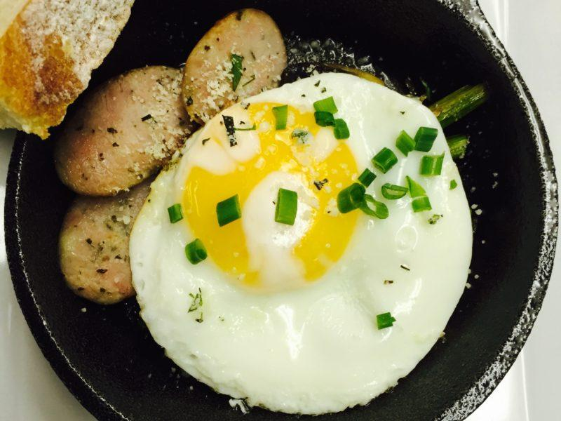 Sunny Egg w/ Chicken Basil Sausage in a Mini Cast Iron Skillet