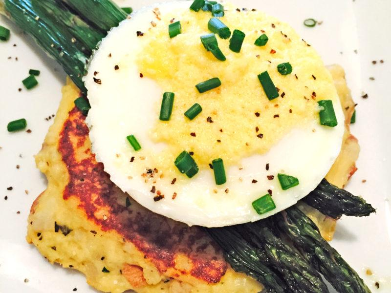Poached Egg w/ Grilled Asparagus on a Potato Pancake
