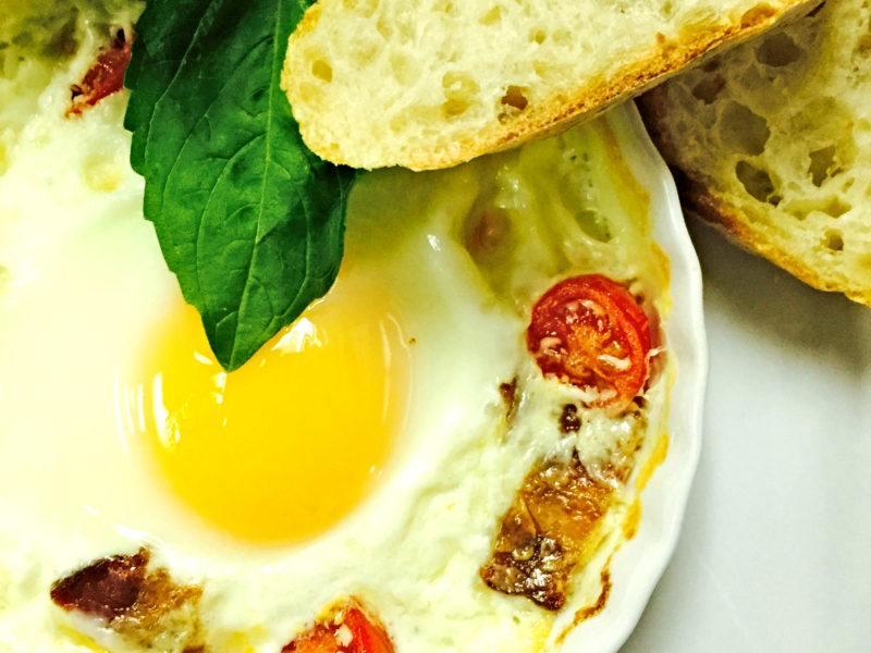 Classic Baked Eggs Caprese