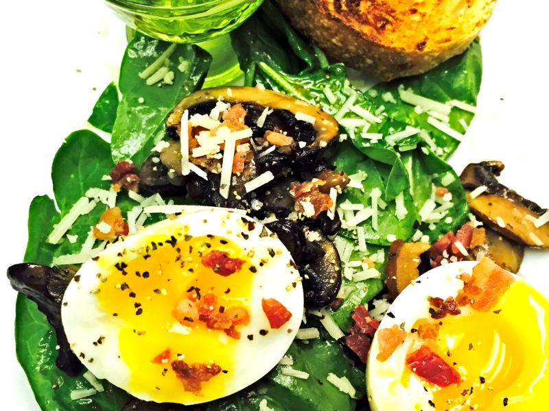 Warm Spinach Salad w/ Champignon & Soft Boiled Eggs