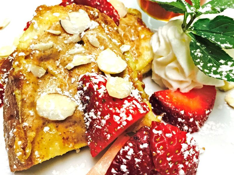 Challah French Toast w/ Almonds & Strawberries